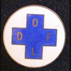 insigne devtype broche ancienne du DOFL en émail de diamètre 3 cm (L 24)