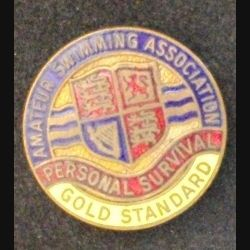 insigne anglais de rype broche d'AMATEUR SWIMMING ASSOCIATION GOLD STANDARD en émail (L 24)