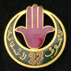27° RTA : 27° RÉGIMENT DE TIRAILLEURS ALGÉRIENS VERT FONCÉ (ABPD )ÉMAIL 41 mm (L 12)