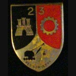 23° BG : 23° BATAILLON DU GÉNIE (DRAGO ROM 1030) ÉMAIL ARGENTÉ (L41)
