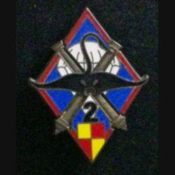35° RAP : insigne de la 2° batterie du 35° régiment d'artillerie parachutiste, au Tchad opération Manta, de fabrication Fraisse