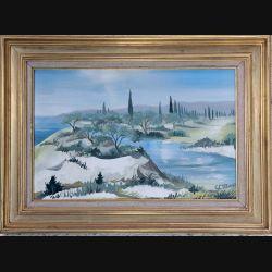 Peinture à l'huile de Svetlana Manen intitulée Ré-Rêve 1977 de dimension 41*27