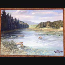 Peinture à l'huile de Svetlana Manen intitulée barques dans les roseaux 1968 de dimension 73*54