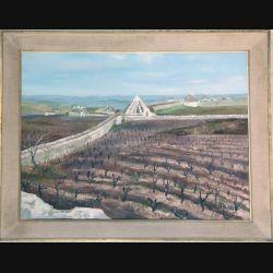 Peinture à l'huile de Svetlana Manen intitulée Trulli dans le vignoble 1967 de dimension 73*54
