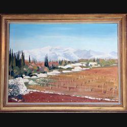 Peinture à l'huile de Svetlana Manen intitulée Dans les Konavle (Yougoslavie) 1978 de dimension 100*73