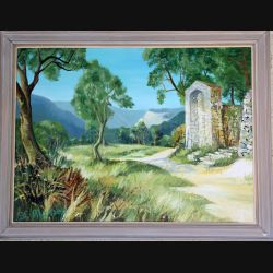 Peinture à l'huile de Svetlana Manen intitulée Edicolo di San Michele 1975 de dimension 81*60
