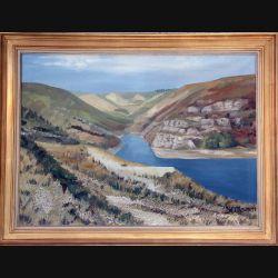Peinture à l'huile de Svetlana Manen intitulée Le lac de Villefort 1969 de dimension 100*73