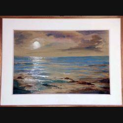 Peinture à l'aquarelle de Svetlana Manen intitulée Reflets de lune sur la mer 1983 de dimension 71*52 vendu sans son cadre