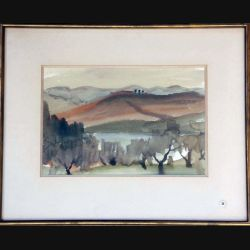Peinture à l'aquarelle de Svetlana Manen intitulée Oliviers en Toscane 1983 de dimension 43*34 sous verre
