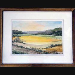 Peinture à l'aquarelle de Svetlana Manen intitulée La vallée de Bonnevaux (Haut-Jura) de dimension 35*27 sous verre