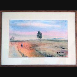 Peinture à l'aquarelle de Svetlana Manen intitulée Plaines des Sous Massa (Maroc) de dimension 46*34 sous verre