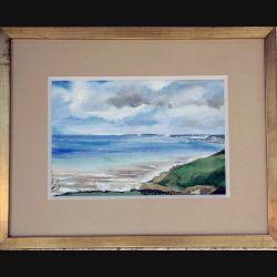 Peinture à l'aquarelle de Svetlana Manen intitulée Du haut des falaises de dimension 37*29 sous verre