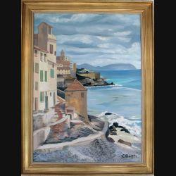 Peinture à l'huile de Svetlana Manen intitulée Quinto al mare (Genova) 1967 de dimension 100*73