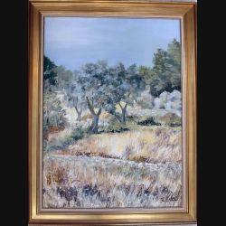 Peinture à l'huile de Svetlana Manen intitulée Les trois oliviers 1969 de dimension 100*73