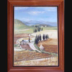 Peinture à l'huile de Svetlana Manen intitulée La procession des cyprès 1967 de dimension 73*54