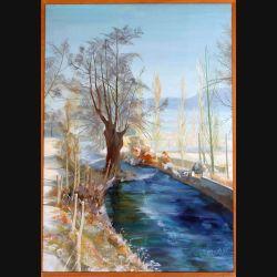 Peinture à l'huile de Svetlana Manen intitulée Rivière en hiver - Pays d'Eawy 1990 de dimension 92*65