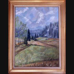 Peinture à l'huile de Svetlana Manen intitulée Nuages dans les sapins (Jura) 1968 de dimension 73*54
