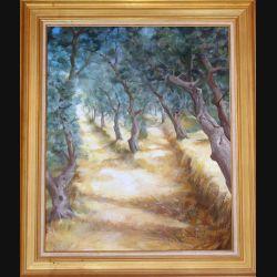 Peinture à l'huile de Svetlana Manen intitulée Oliviers de Fanghetto 1991 de dimension 73*60