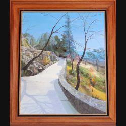 Peinture à l'huile de Svetlana Manen intitulée Passejado en Casteu (Nissa) 1992 de dimension 73*60