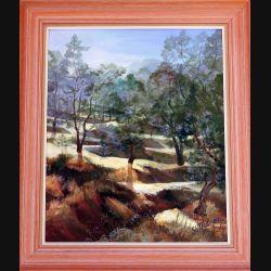 Peinture à l'huile de Svetlana Manen intitulée Les oliviers 1991 de dimension 65*54