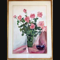 Peinture à la gouache de Svetlana Manen intitulée Roses vénitiennes (bouquet) de dimension 84*63 vendu sans son cadre