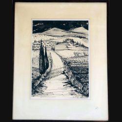 Dessin au fusain de Svetlana Manen intitulé le chemin de Toscane en Noir et Blanc de dimension 47*37 sous verre