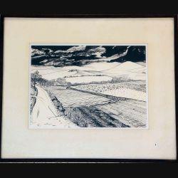 Dessin au fusain de Svetlana Manen intitulé Chemin de campagne en Toscane en Noir et Blanc de dimension 46*38 sous verre