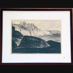 Dessin au fusain de Svetlana Manen intitulé la forteresse de Procida en Noir et Blanc de dimension 41*32 sous verre