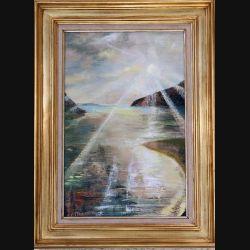 Peinture à l'huile de Svetlana Manen intitulée Sol Soleil 1977 de dimension 41*27