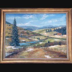 Peinture à l'huile de Svetlana Manen intitulée Jour d'hiver haut Jura 1969 de dimension 100*73