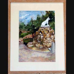 Peinture à l'aquarelle de Svetlana Manen intitulée Barry chien célèbre Asnières de dimension 45*35 sous verre