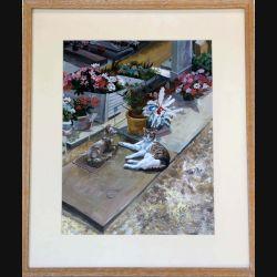 Peinture acrylique de Svetlana Manen intitulée Chat vivant devant statue Asnières de dimension 46*38 sous verre