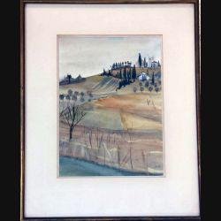 Peinture à l'aquarelle de Svetlana Manen intitulée la ferme (Toscane) de dimension 46*37 sous verre
