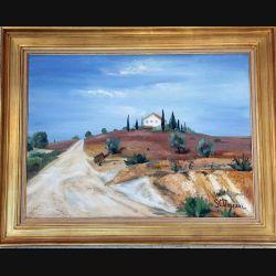 Peinture à l'huile de Svetlana Manen intitulée ferme toscane 1967 de dimension 73*54