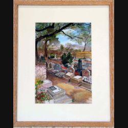 Peinture à l'aquarelle de Svetlana Manen intitulée Cimetière des chiens Asnières de dimension 37*29 sous verre