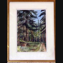 Peinture à l'aquarelle de Svetlana Manen intitulée Forêt de la Joux de dimension 35*27 sous verre