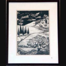 Dessin au fusain de Svetlana Manen intitulé Ciel d'orage sur la Toscane en Noir et Blanc de dimension 42*33 sous verre