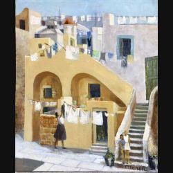 Peinture à l'huile de Svetlana Manen intitulée Procida Italie 1964 de dimension 60*50