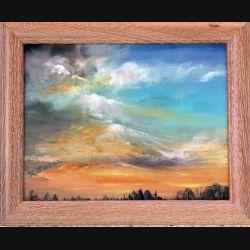 Peinture à l'huile de Svetlana Manen intitulée Nuages au couchant 2001 de dimension 35*27