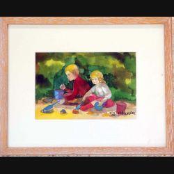 Peinture à l'aquarelle de Svetlana Manen intitulée Jeu au parc Monceau de dimension 32*25 sous verre