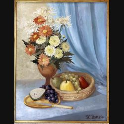 Peinture à l'huile de Svetlana Manen intitulée Bouquet de Karine 1969 de dimension 65*50