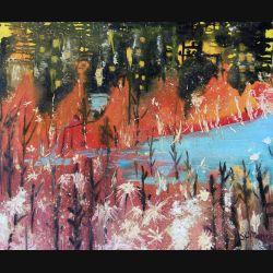 Peinture à l'huile de Svetlana Manen intitulée La forêt en flammes 1964 de dimension 60*50