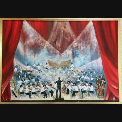 Peinture à l'huile de Svetlana Manen intitulée L'orchestre des cadets d'Asnières 1977