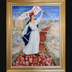 Peinture à l'huile de Svetlana Manen intitulée Lala révolution 1989 de dimension 92*73