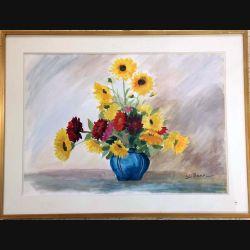 Peinture à l'aquarelle de Svetlana Manen intitulée Le vase bleu de dimension 84*62 vendu sans son cadre