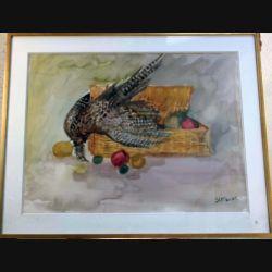Peinture à l'aquarelle de Svetlana Manen intitulée Poule faisane de dimension 89*70 vendu sans son cadre