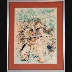 Peinture à l'aquarelle de Svetlana Manen intitulée le chat lion 1986 de dimension 40*30 sous verre