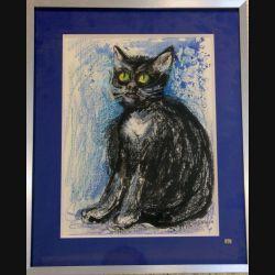 Peinture à l'aquarelle de Svetlana Manen intitulée au clair de la lune (chat) 1986 de dimension 39*29 sous verre