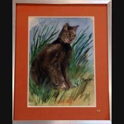 Peinture à l'aquarelle de Svetlana Manen intitulée Chat cha... 1986 de dimension 37*27 sous verre