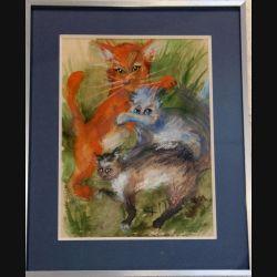 Peinture à l'aquarelle de Svetlana Manen intitulée Jeux de chats 1986 de dimension 36*28 sous verre